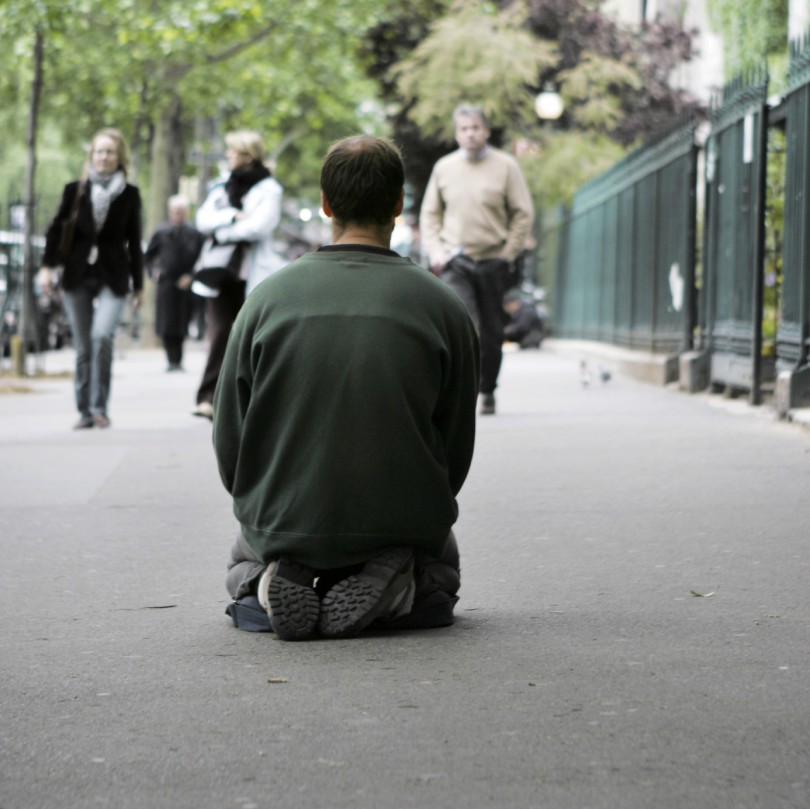 one of the homeless on a Paris street, France